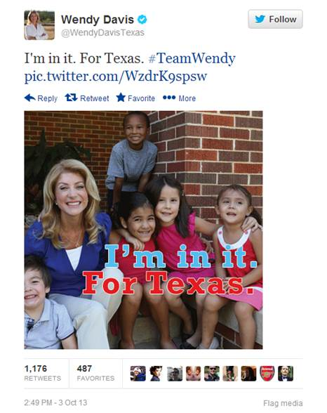 Tweet from Wendy Davis