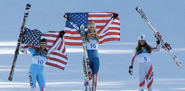 Americans Lindsey Vonn and Julia Mancuso Celebrate Gold and Silver in the 2010 Vancouver Olympics