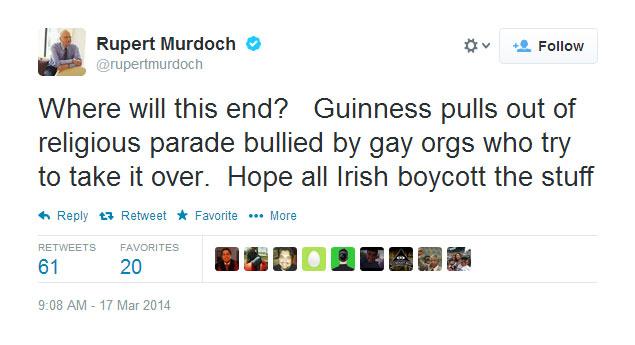 Rupert Murdoch Tweet: