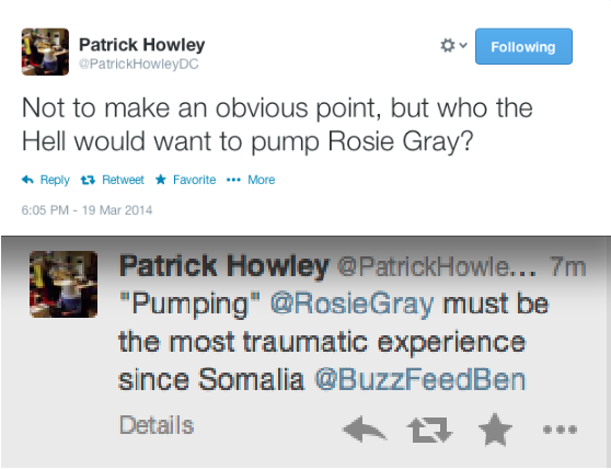 Patrick Howley Tweets About Rosie Gray