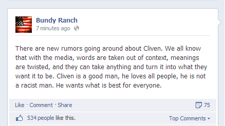 Bundy Ranch Facebook post