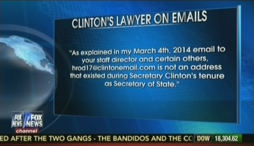 Fox News report on Clinton Emails