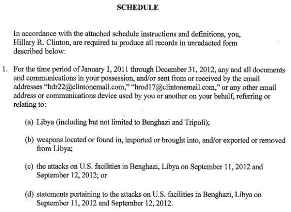 Benghazi Clinton Email Subpoena