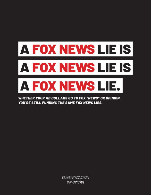 """A Fox News lie is a Fox News lie is a Fox News lie."" Media Matters' DropFox ad in The Hollywood Reporter"