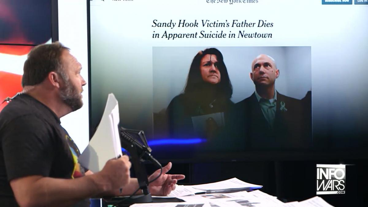 Alex Jones is pushing conspiracy theories about the death of a Sandy Hook father who was suing him