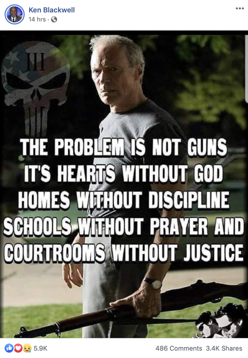Ken Blackwell posts meme on Facebook blaming gun violence on lack of prayer in school
