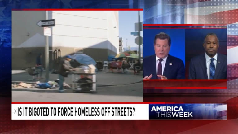 "Footage of tents on sidewalks with smaller window showing split-screen between Eric Bolling and Ben Carson. The chyron reads, ""Is it bigoted to force homeless off streets?"""