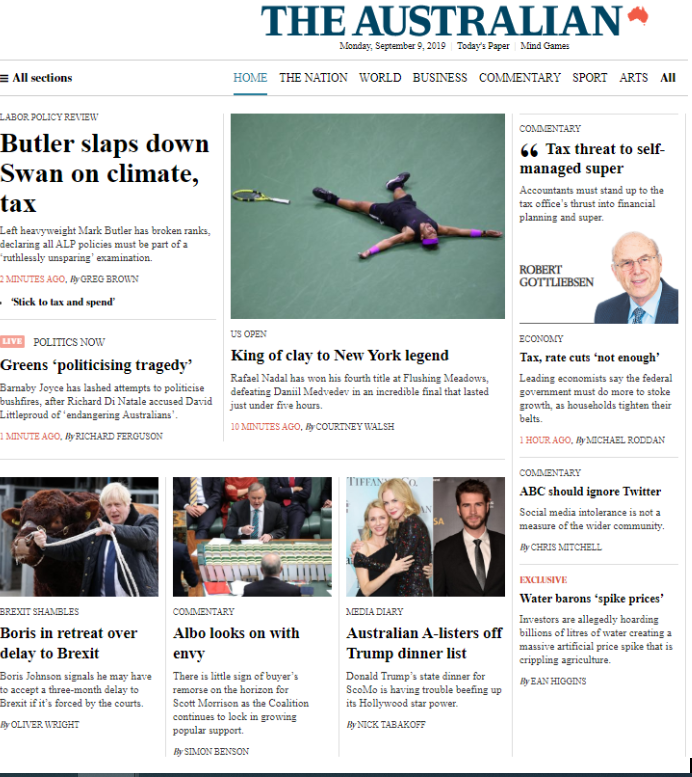 September 9 The Australian digital homepage
