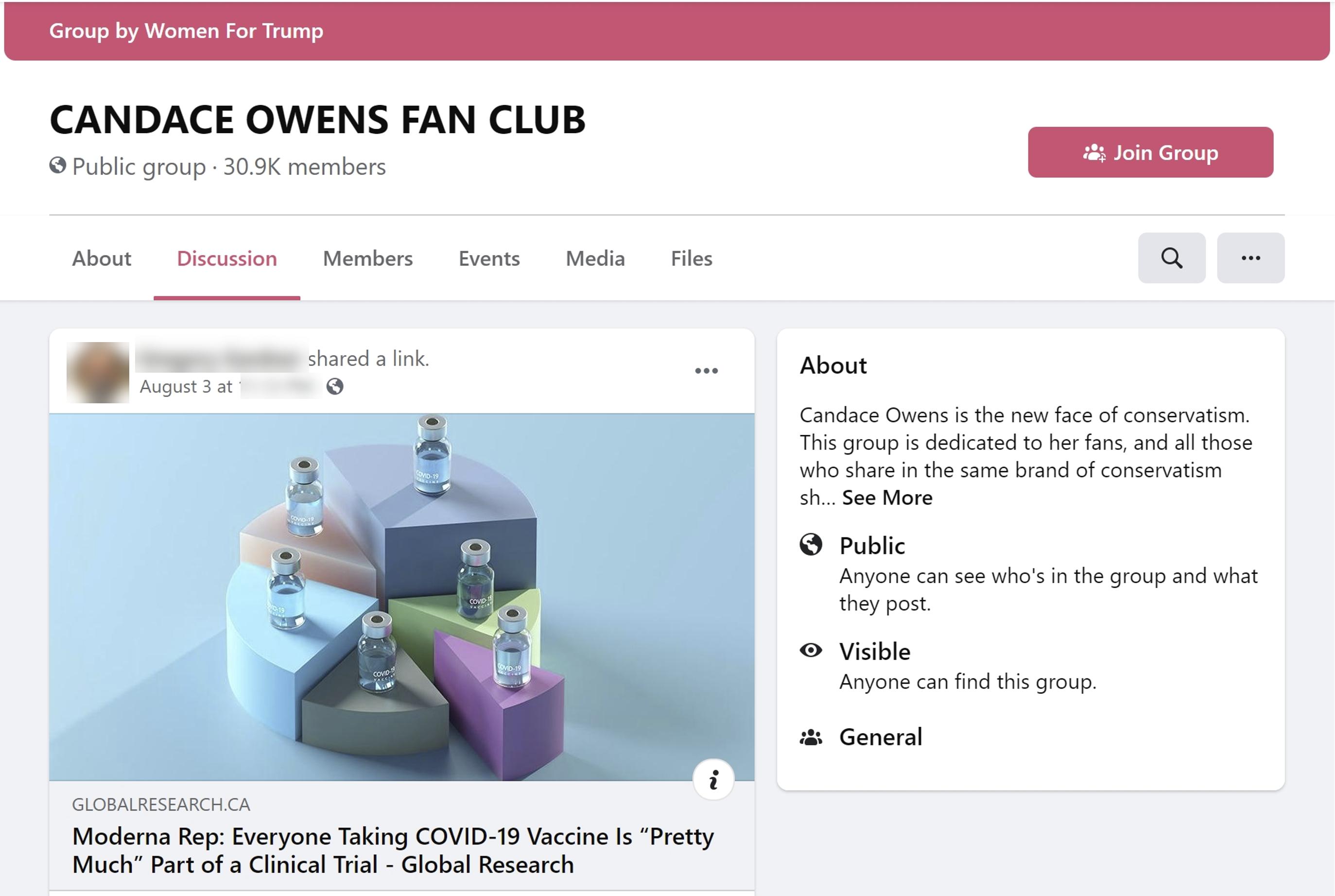 Candace Owen's fanclub Facebook Group