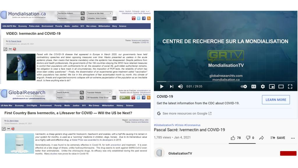 Global Research YouTube comparisons between French and English sites.