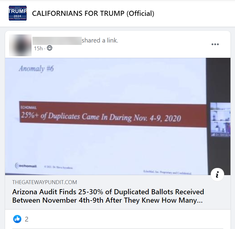 """Fb post from """"CALIFORNIANS FOR TRUMP (Official)"""" spreading election misinformation"""