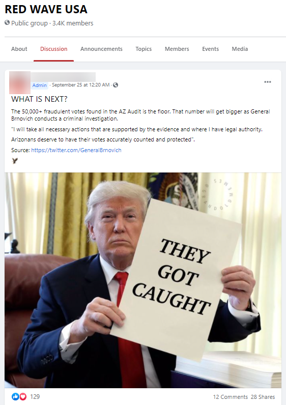 """FB post from """"RED WAVE USA"""" claiming Trump caught Democrats cheating"""