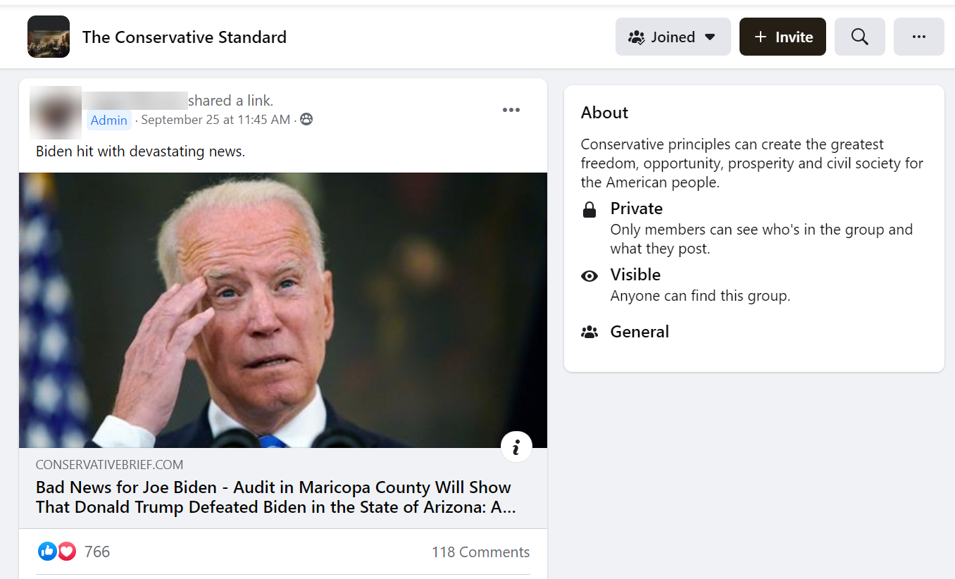 FB post linking to an article that claims Trump won in Maricopa County
