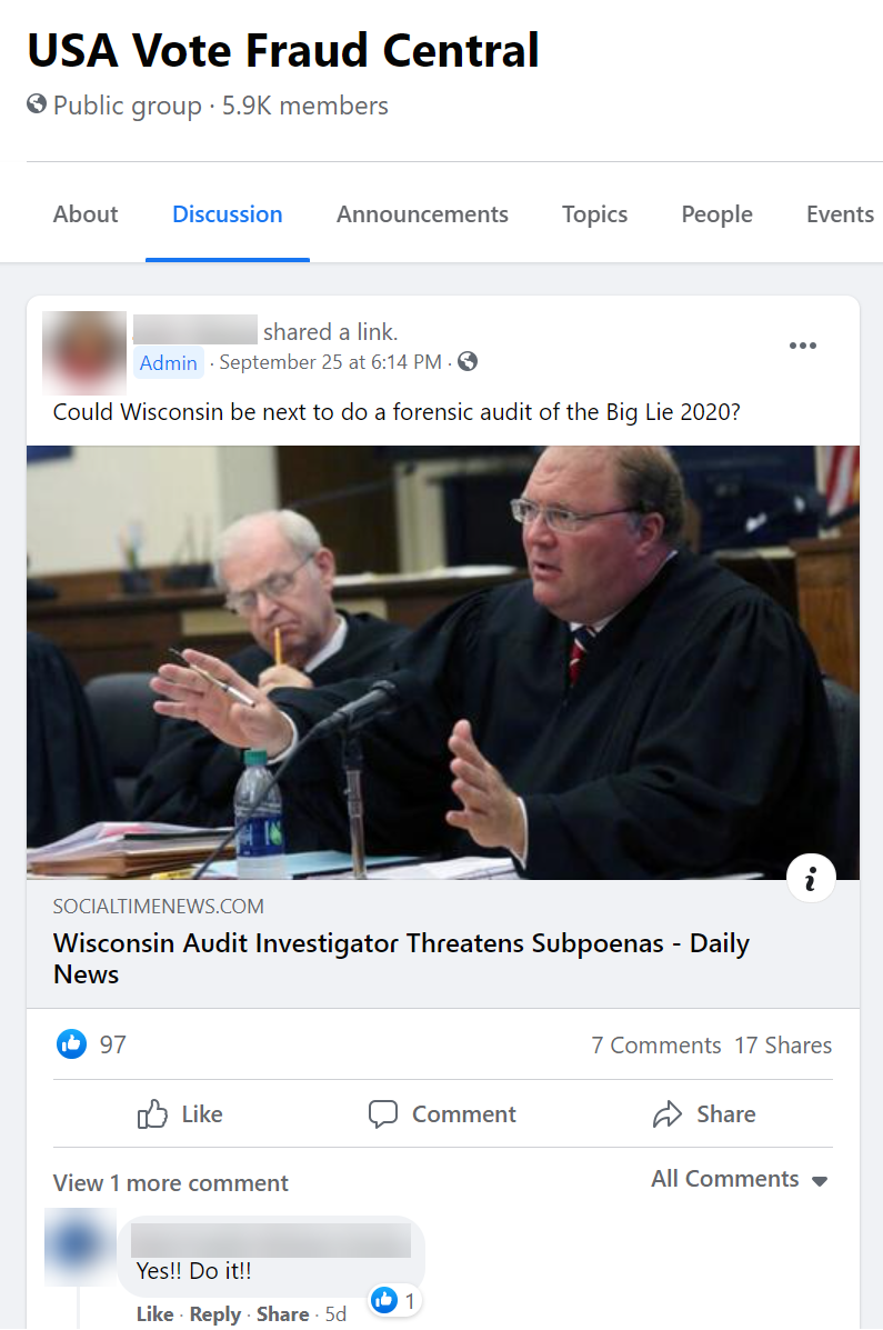 """Discussions about a potential """"audit"""" in Wisconsin"""