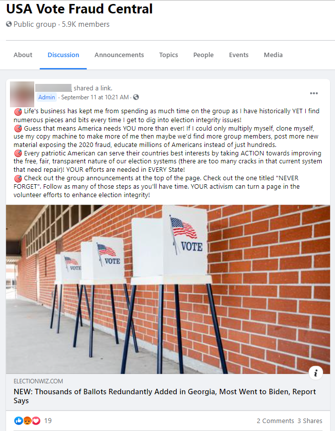 """FB post from """"USA Vote Fraud Central"""""""