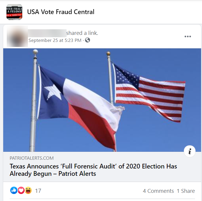 """Post discussing a potential """"audit"""" in Texas"""