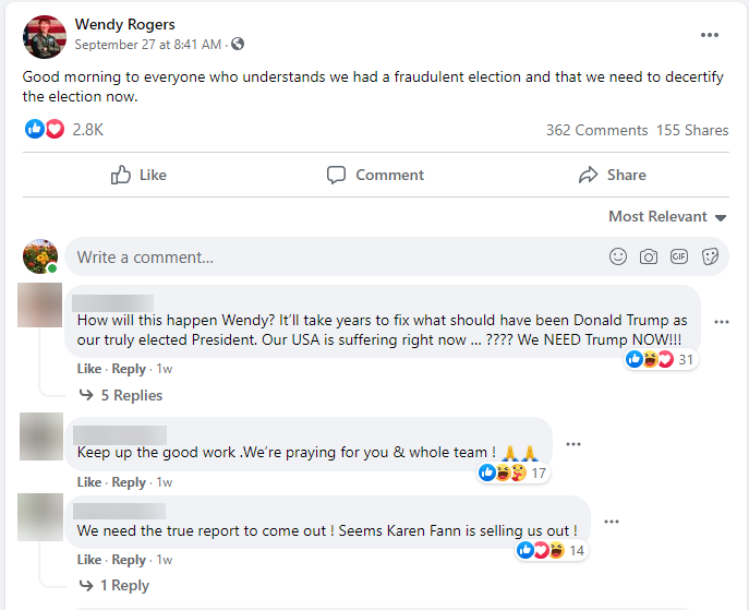 Wendy Rogers calling to decertify the election