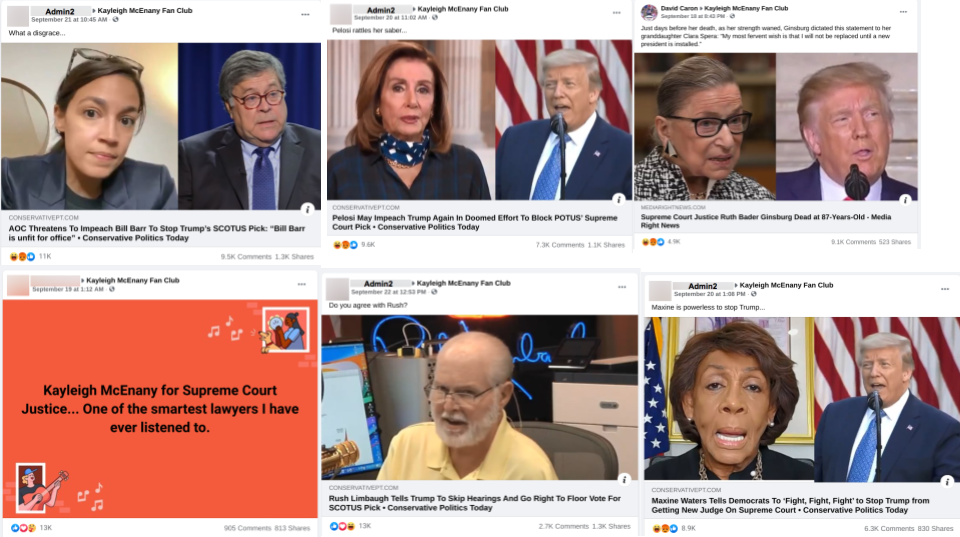 facebook posts in public facebook groups about RBG's passing