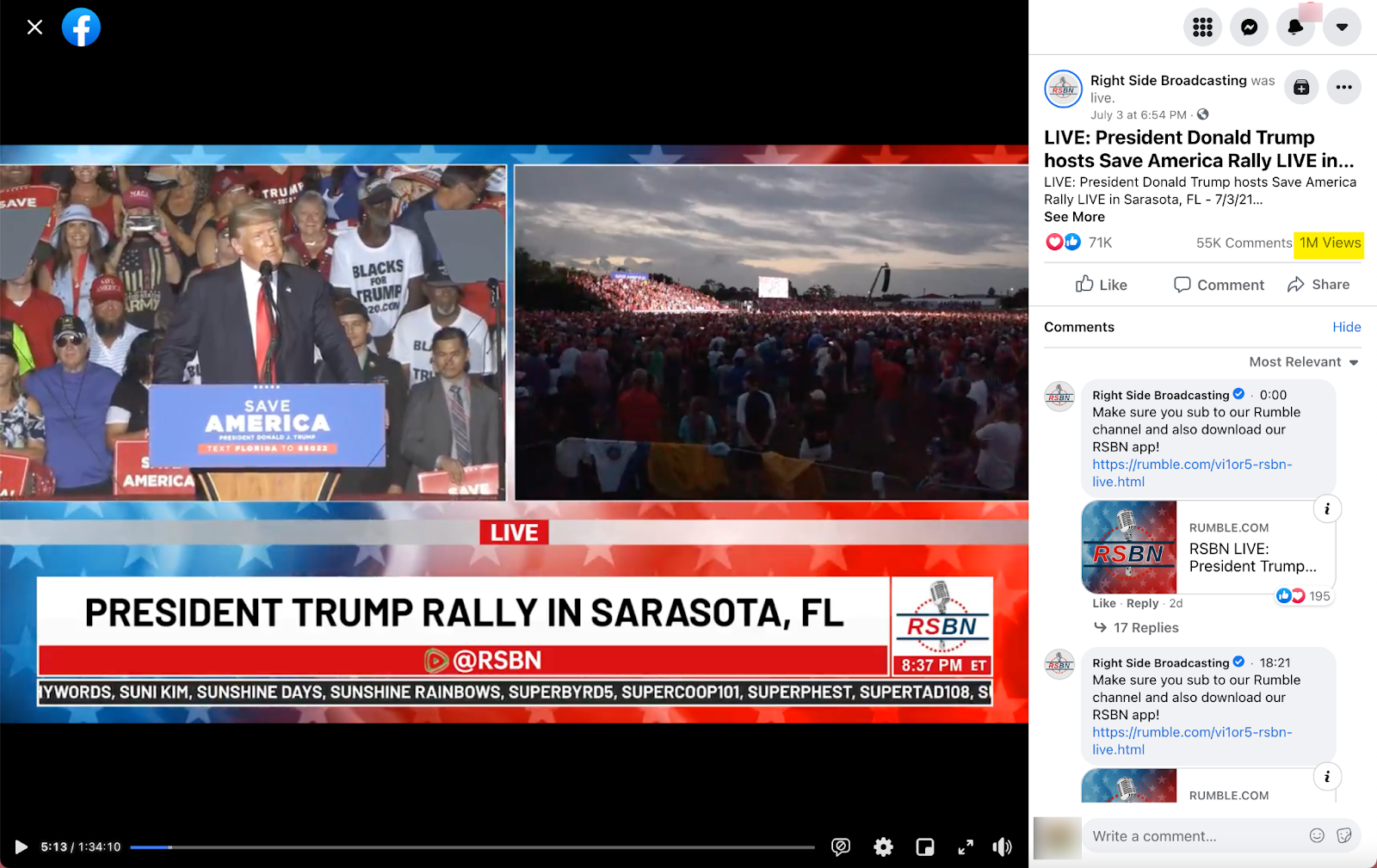 Right Side Broadcasting_livestream trump florida rally_20210703