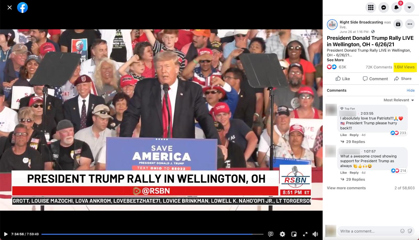 Right Side Broadcasting_livestream trump ohio rally_20210626