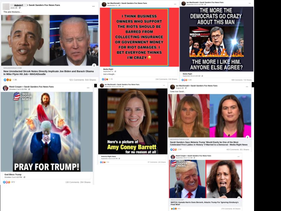 facebook posts in Sarah Sanders Fox News Fans FB group