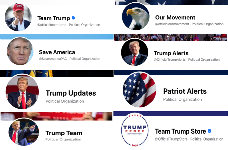 Save America Joint Fundraising Committee's 8 Facebook pages