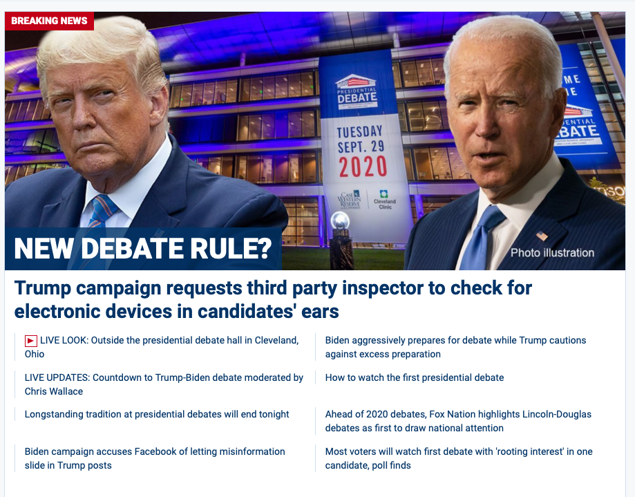 Fox News homepage features Trump conspiracy theory about alleged secret listening device in Biden's ear