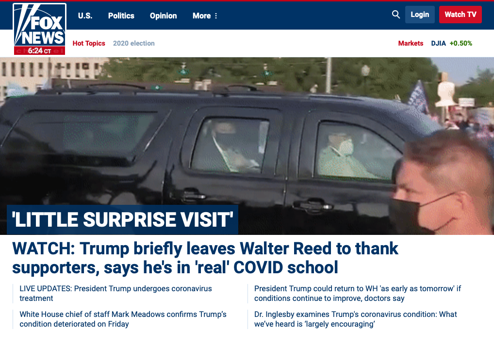 "A Walter Reed physician called Trump's COVID joyride ""insanity."" Right-wing media cheered Trump on."