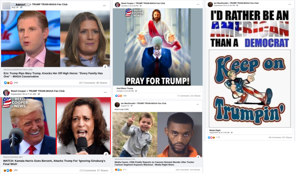 Image of facebook posts in TRUMP TRAIN-MAGA Fan Club