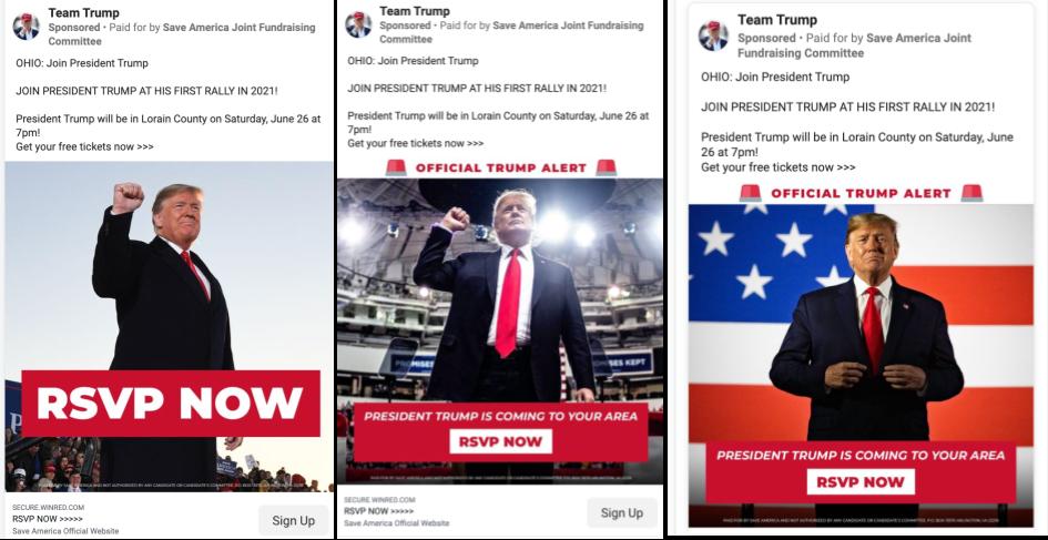 Team Trump Facebook ads promoting Trump's Ohio rally_1