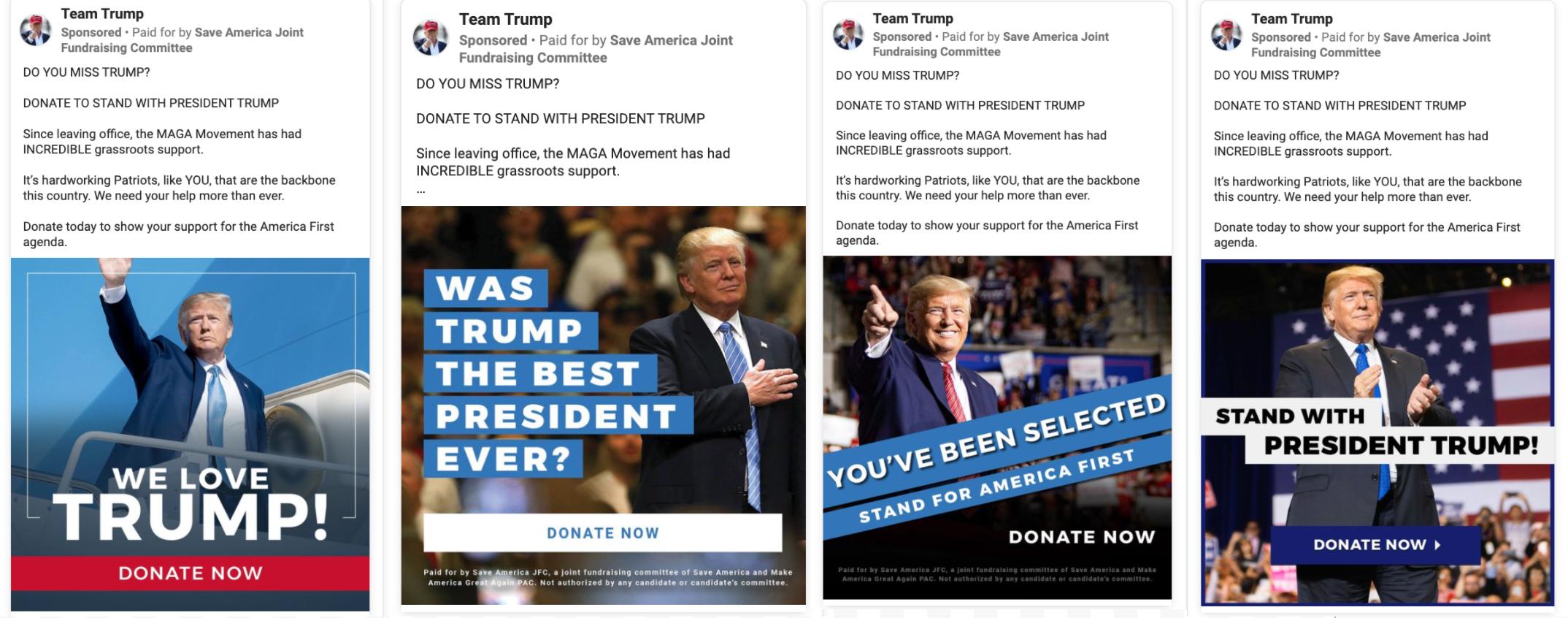 Team Trump Facebook pro-Trump fundraising ads