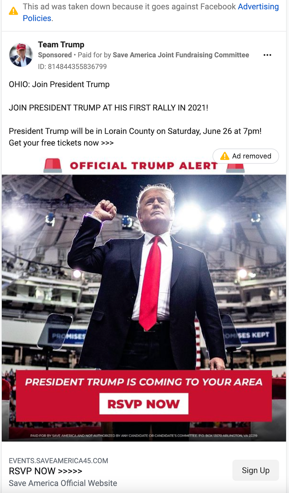 Team Trump_ohio rally facebook ad_example of ad removed