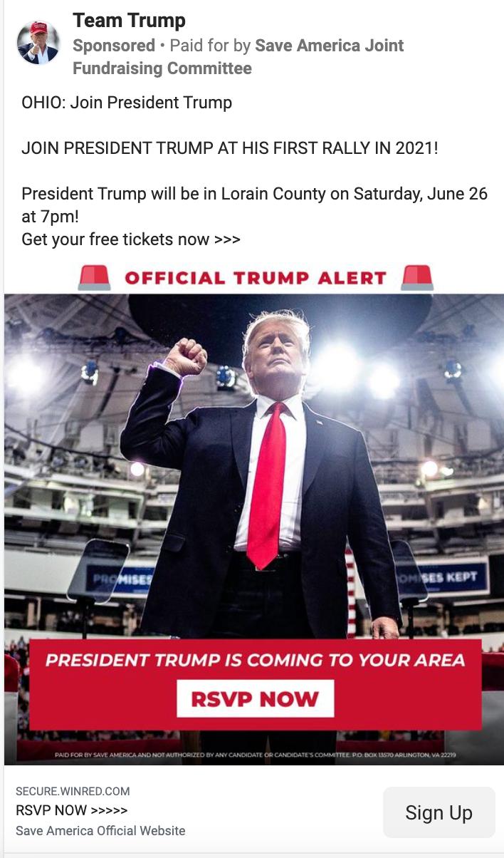 Team Trump_ohio rally facebook ad_example_20210624