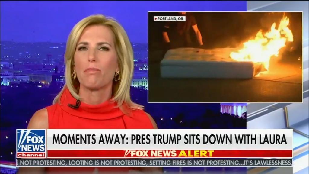 Laura Ingraham burning mattress