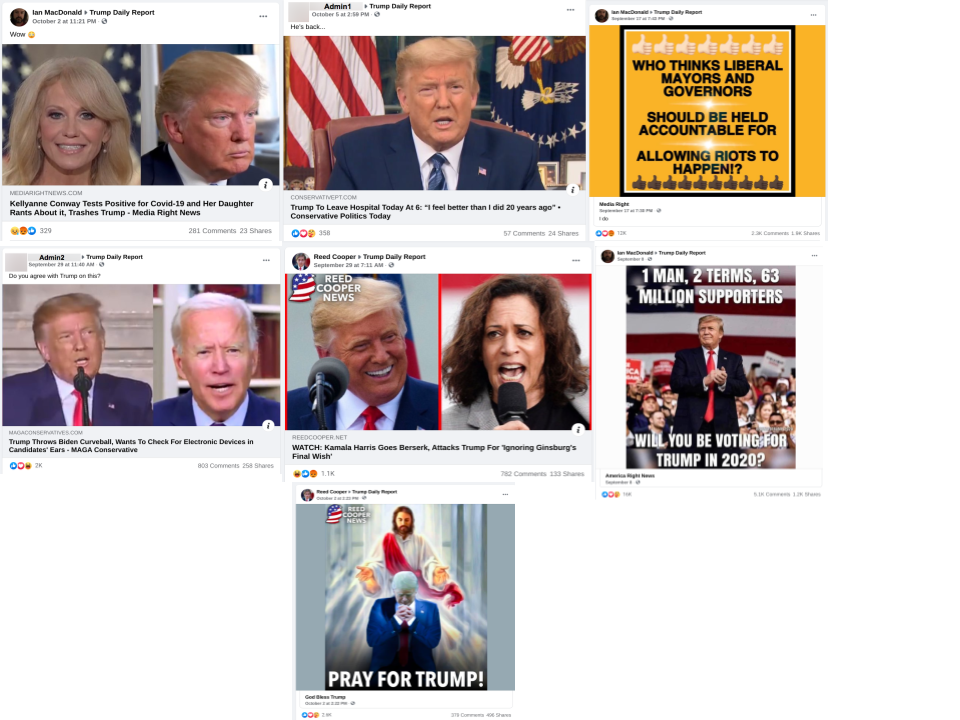 facebook posts in Trump Daily Report FB group