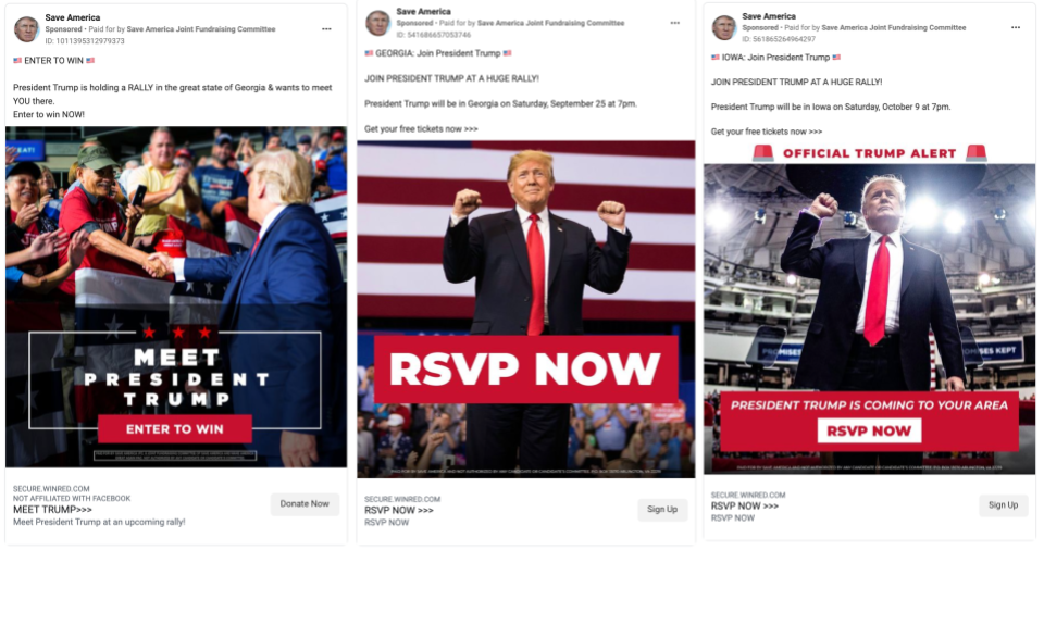 Trump PAC ads promoting rallies in Georgia and Iowa