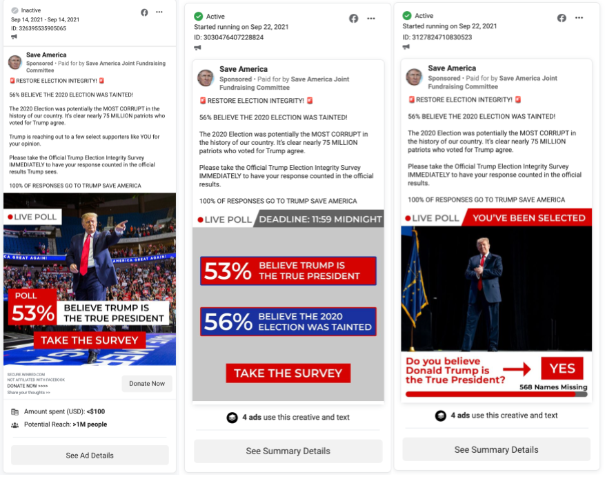 Trump PAC ads with election misinfo that haven't been removed