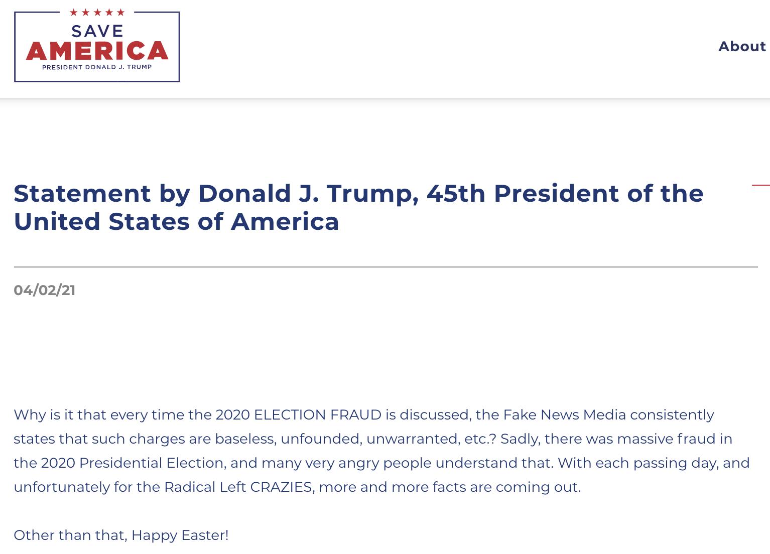 Trump's 4/2/21 statement