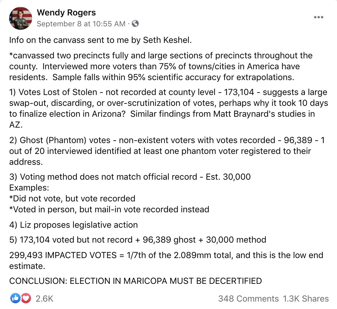 Screenshot from Wendy Rogers FB post on AZ