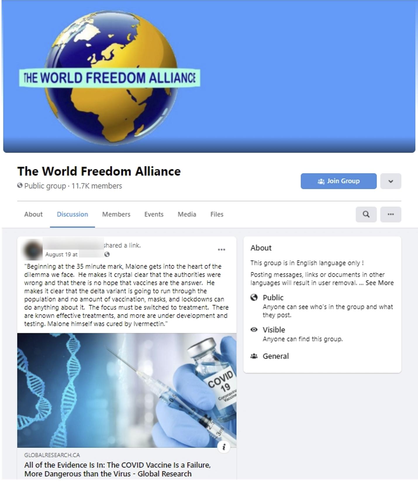 World Freedom Alliance Facebook group