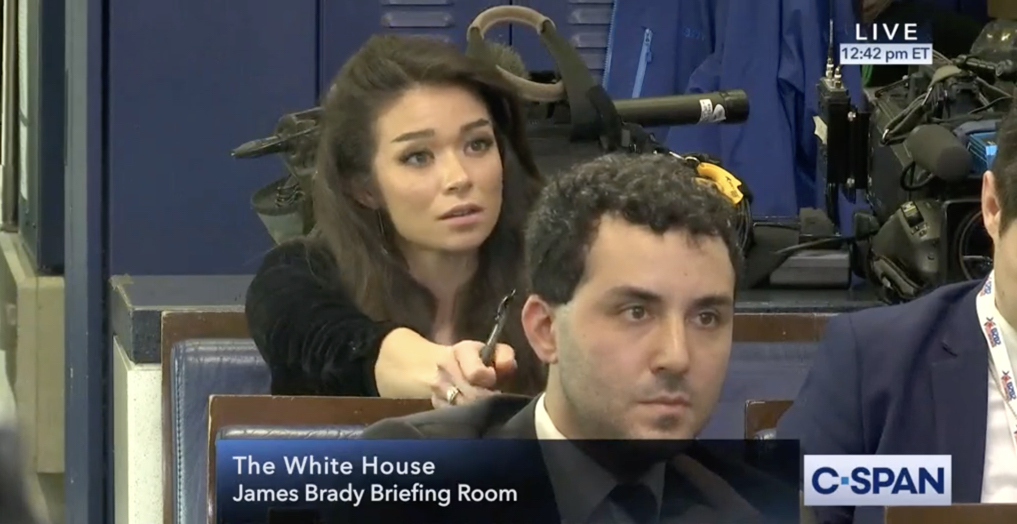 Chanel Rion White House briefing room