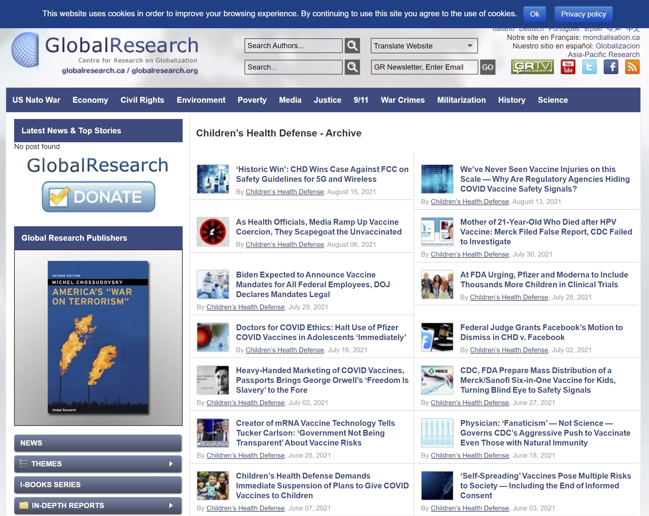 The Global research archive includes many articles from Children's Health Defense.
