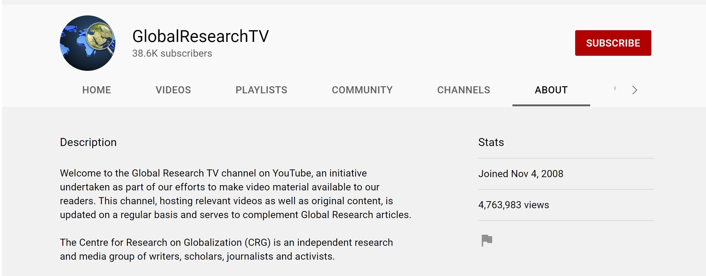 Global Research's Youtube homepage