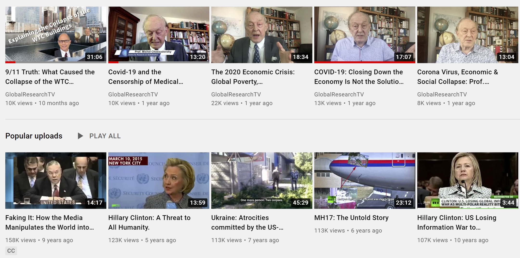 Examples of content on the Global Research YouTube page