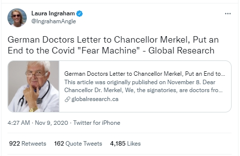 Laura Ingraham show shares Global Research content