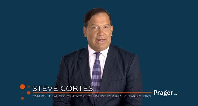 Screenshot of Steve Cortes narrating on camera