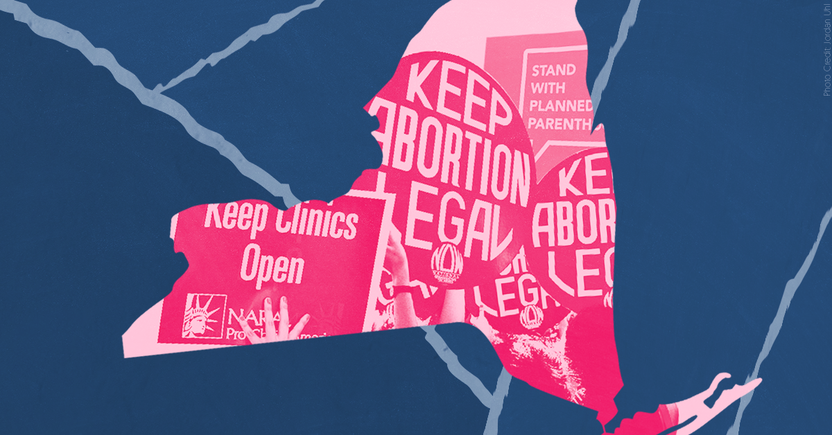 Image of new york state with pro-choice signs overlaying it