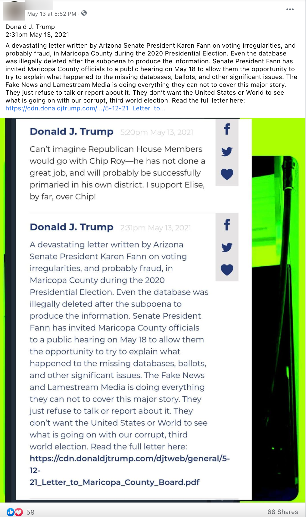 image of facebook post