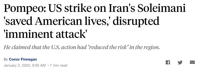 """Pompeo: US strike on Iran's Soleimani 'saved American lives,' disrupted 'imminent attack'"""