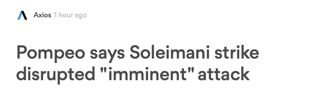"""""""Pompeo says Soleimani strike disrupted 'imminent' attack"""""""